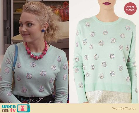 AnnaSophia Robb Fashion: Topshop Green Knitted Jazzie Jumper worn on The Carrie Diaries