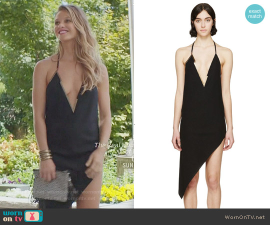 Anthony Vaccarello Asymmetric Metal V-Neck Dress worn by Beau Garrett on GG2D