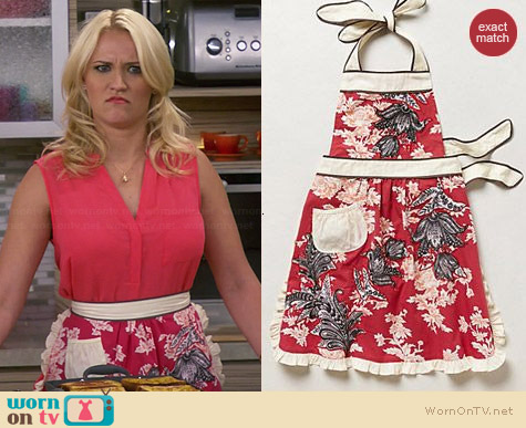 Anthropologie 3-D Toile Apron worn by Emily Osment on Young and Hungry