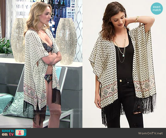Anthropologie Bonita Fringe Kimono worn by Summer Newman on The Young & the Restless