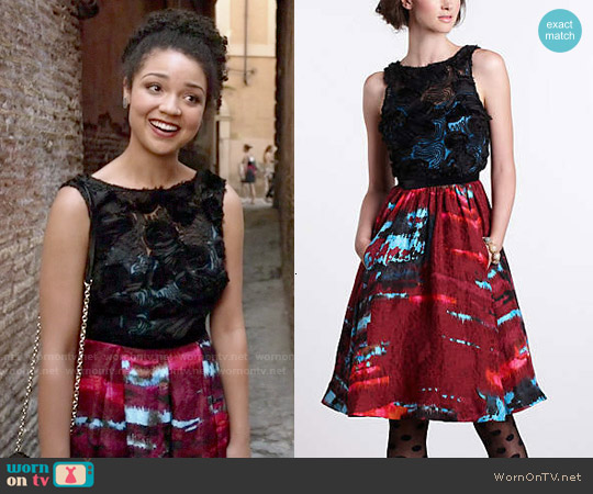 Anthropologie Coquette Matelasse Dress worn by Aisha Dee on Chasing Life