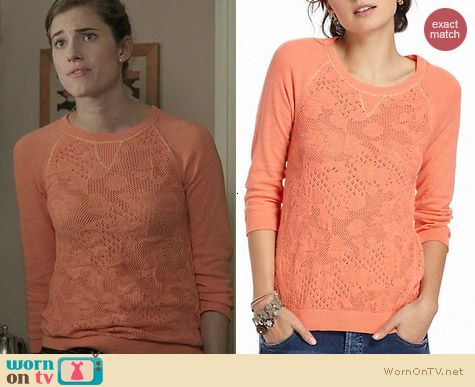 Anthropologie Empyrean Pointelle Sweater in Orange worn by Allison Williams