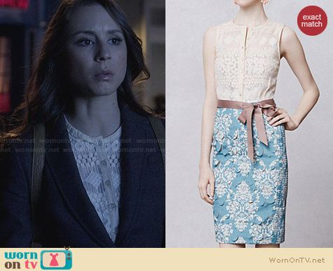 Anthropologie Lasercut Fleur-De-Lys Sheath worn by Troian Bellisario on PLL