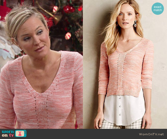 Anthropologie Layered Aselin Pullover in Rose worn by Sharon Case on The Young & the Restless