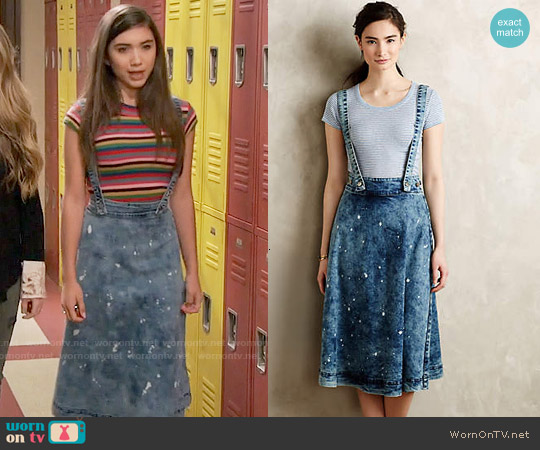 Anthropologie Splattered Denim Overall Skirt worn by Rowan Blanchard on Girl Meets World