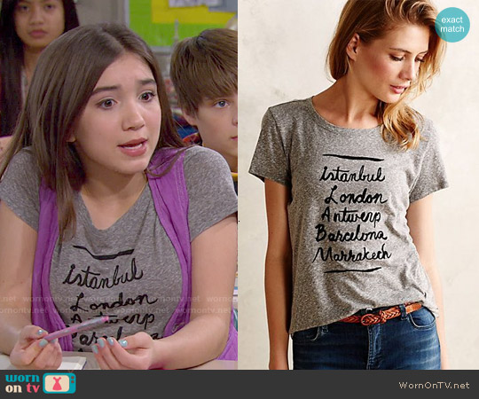 Anthropologie Afternoon Abroad Tee worn by Rowan Blanchard on Girl Meets World