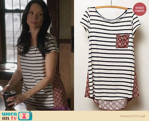 Anthropologie Back Story Tee worn by Lucy Liu on Elementary