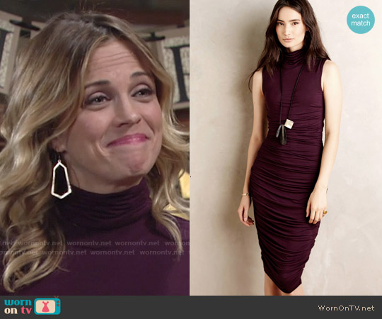 Bailey 44 Gathered Turtleneck Dress worn by Kelly Sullivan on The Young & the Restless