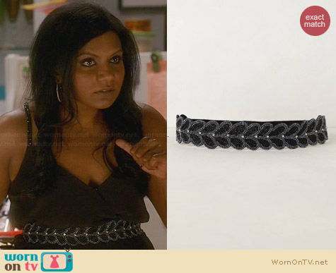 Anthropologie Beaded Valley Belt worn by Mindy Kaling on The Mindy Project