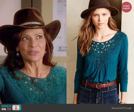 Anthropologie Bobbinlace Tee in Turquoise worn by Constance Marie on Switched at Birth