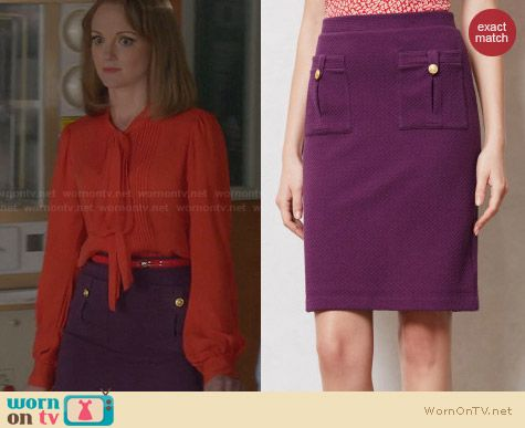 Anthrpologie Bobby Pencil Skirt worn by Jayma Mays on Glee