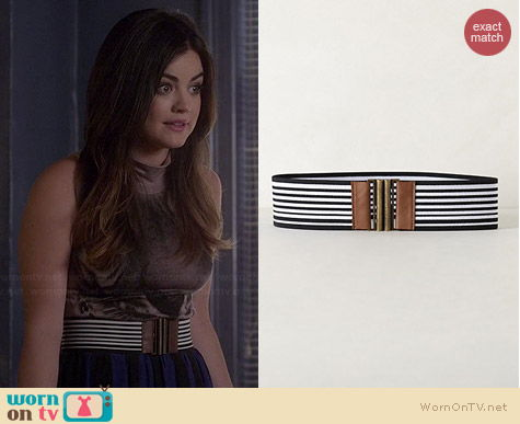 Anthropologie Bonheur Striped Belt worn by Lucy Hale on PLL