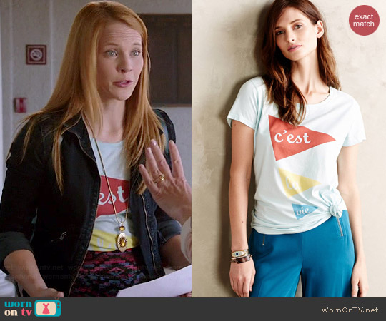 Anthropologie Bonjour Tee worn by Katie Leclerc on Switched at Birth
