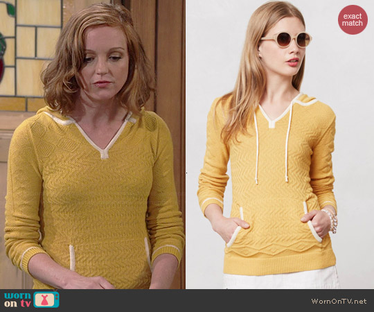 Anthropologie Bordered Knit Hoodie worn by Jayma Mays on The Millers