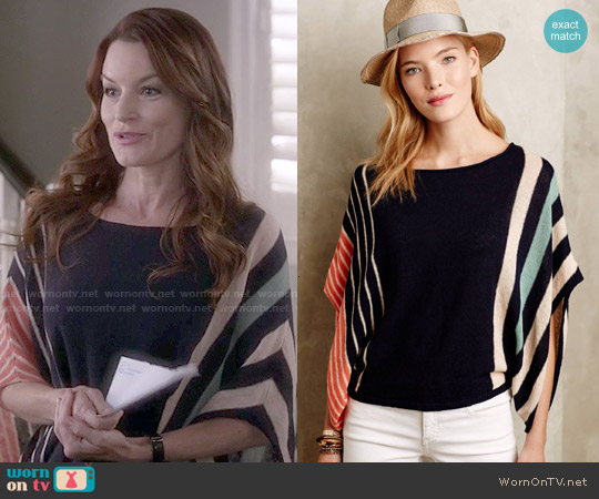 Anthropologie Briston Stripe Poncho worn by Laura Leighton on PLL