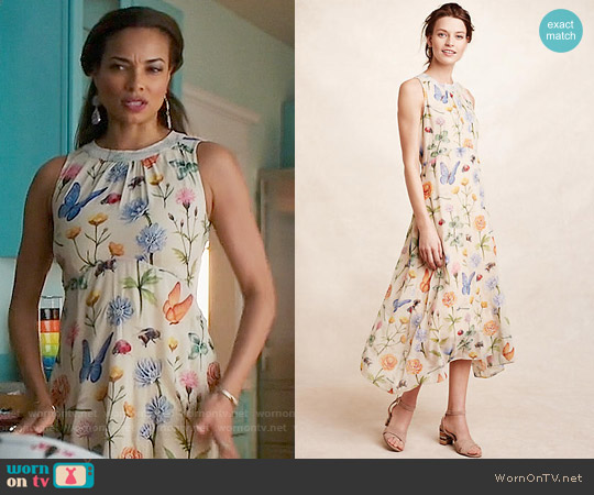 Anthropologie Pankaj & Nidhi Butterfly Garden Midi Dress worn by Rochelle Aytes on Mistresses