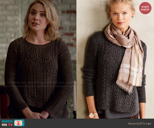 Anthropologie Cabled Ella Pullover worn by Leah Pipes on The Originals