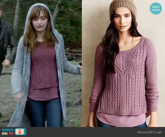Anthropologie Cabled Ella Pullover worn by Olivia Cooke on Bates Motel