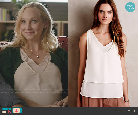 Anthropologie Cedez Tank worn by Candice Accola on The Vampire Diaries