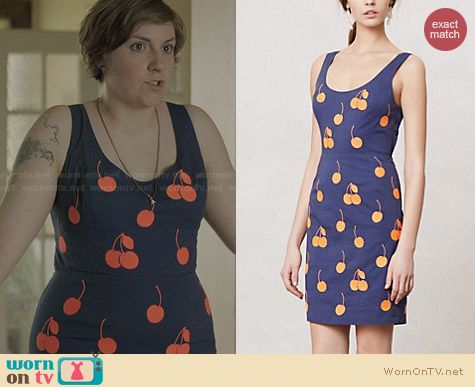 Anthropologie Cherry Drop Sheath worn by Lena Dunham on Girls