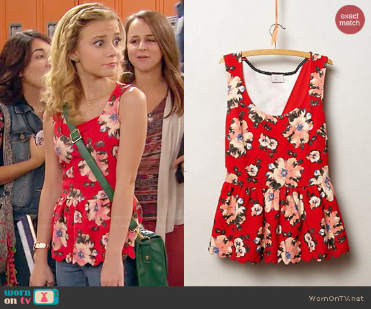 Anthropologie Clovelly Peplum Top worn by G. Hannelius on Dog with a Blog