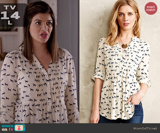 Anthropologie Composed Pintuck Buttondown worn by Casey Wilson on Marry ME