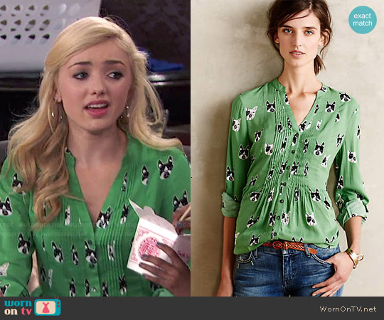 Anthropologie Composed Pintuck Buttondown worn by Peyton List on Jessie