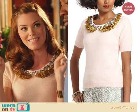 Anthropologie Corey Lynn Calter Peter-Pan Paillettes Sweater worn by Kaitlyn Black on Hart of Dixie
