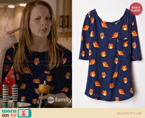 Anthropologie Creature Feature Owl Print Tee worn by Katie Leclerc on Switched at Birth