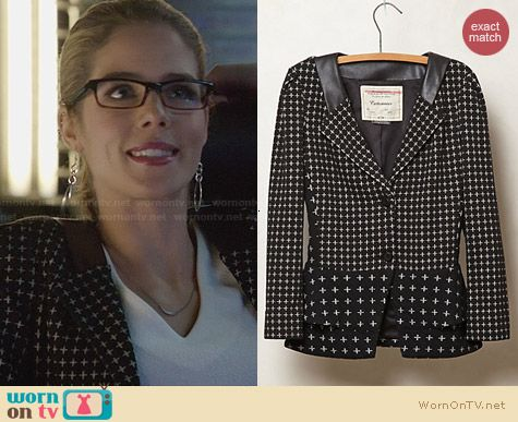 Anthropologie Crosswise Knit Jacket worn by Emily Bett Rickards on Arrow