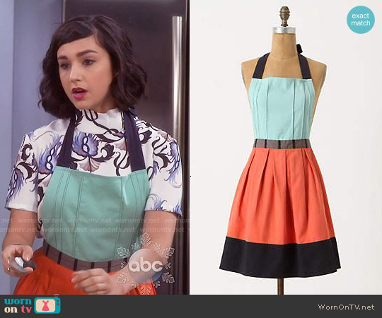 Wornontv mandy s printed mock neck top and mint orange for Anthropologie cuisine couture apron