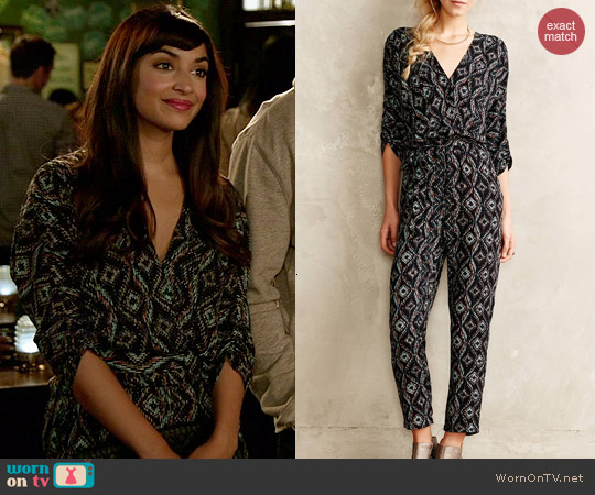 Anthropologie Dacey Jumpsuit worn by Hannah Simone on New Girl