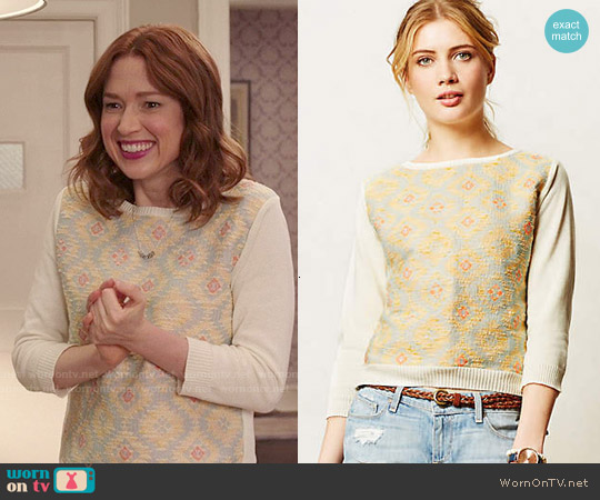 Anthropologie Desert Ikat Sweatshirt worn by Ellie Kemper on Unbreakable Kimmy Schmidt