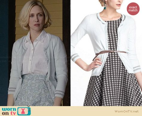 Anthropologie Emanation Cardigan worn by Vera Farmiga on Bates Motel
