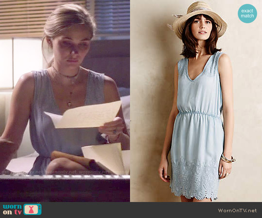 Anthropologie Embroidered Chambray Dress worn by Clare Bowen on Nashville