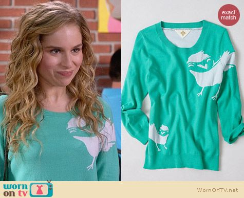 Anthropologie Empty Nest Pullover worn by Allie Grant on Suburgatory