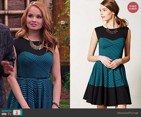 Anthropologie Eva Franco Stripe Swing Dress worn by Debby Ryan on Jessie