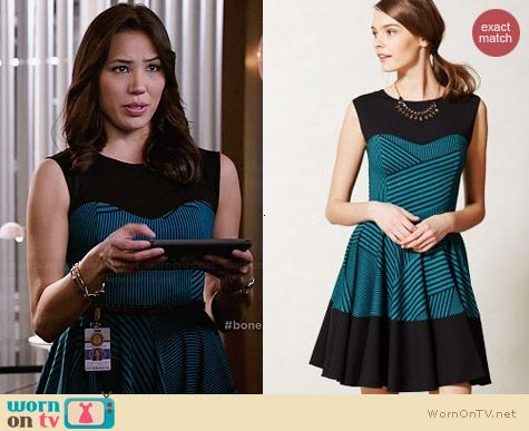 Anthropologie Stripe Swing Dress worn by Michaela Conlin on Bones