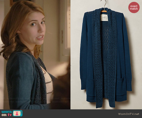Anthropologie Evenie Chenille Cardigan worn by Wallis Currie-Wood on Madam Secretary