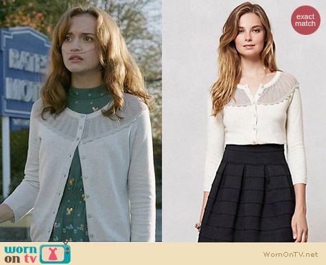 Anthropologie Fanned Shimmer Cardigan worn by Olivia Cooke on Bates Motel