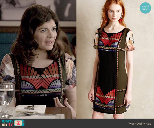 Anthropologie Fanned Vignette Shift worn by Casey Wilson on Marry Me