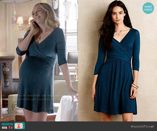 Anthropologie Fara Surplice Dress in Teal worn by Candice Accola on The Vampire Diaries