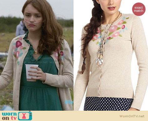 Anthropologie Felted Flora Cardigan worn by Olivia Cooke on Bates Motel