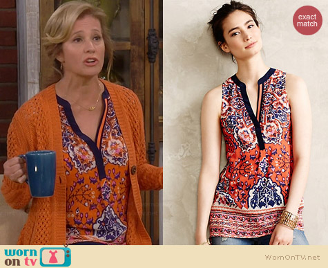 Anthropologie Finn Tank worn by Nancy Travis on Last Man Standing