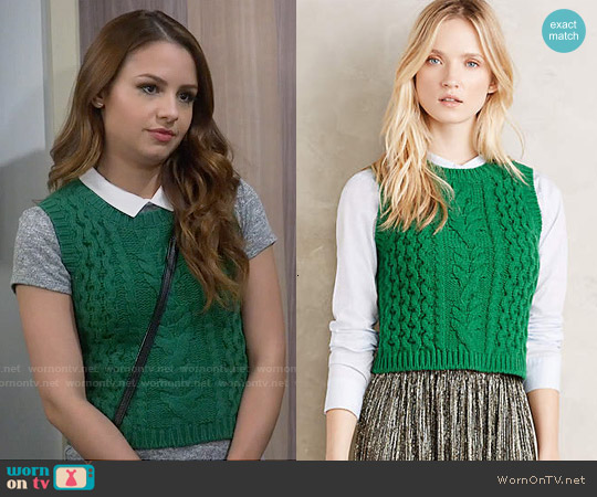 Anthropologie Fisherman Sweater Vest worn by Aimee Carrero on Young & Hungry