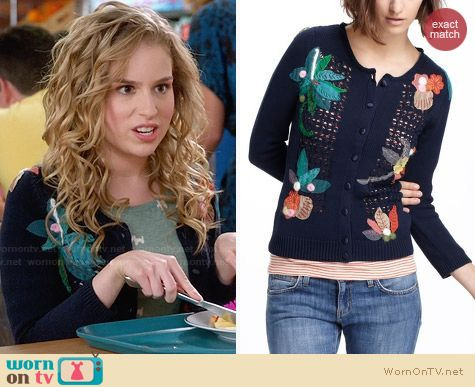 Anthropologie Floriography Cardigan worn by Allie Grant on Suburgatory