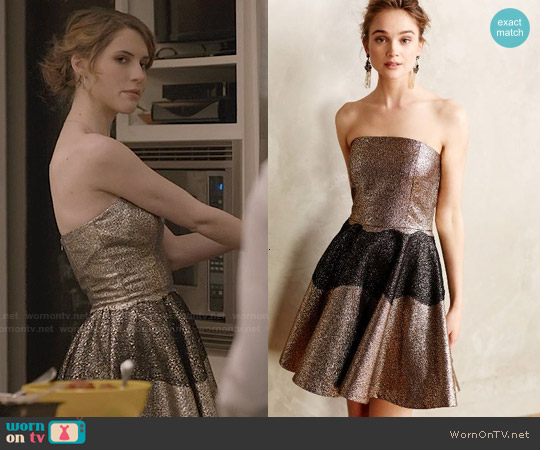 Anthropologie Foil Brocade Mini Dress by Sachin + Babi worn by Wallis Currie-Wood on Madam Secretary