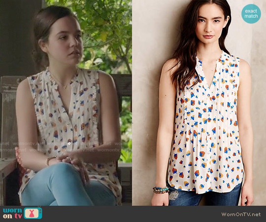 Anthropologie Fragola Ruffle Tank worn by Bailee Madison on The Fosters