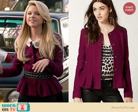 Anthropologie Francie Peplum Jacket worn by Bailey Buntain on Faking It