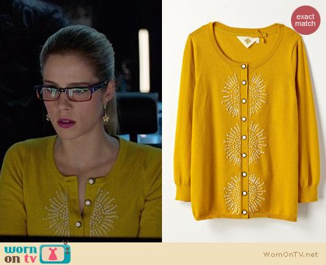 Anthropologie French Knot Cardigan worn by Emily Bett Rickards on Arrow